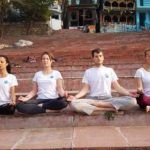 Four students during meditation